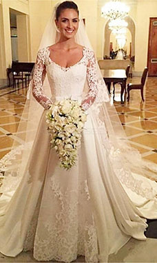 A-line V-neck Long Sleeve Lace Wedding Dress
