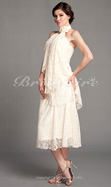 Sheath/Column Lace Tea-length High Neck Mother of the Bride Dress