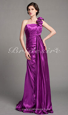 Sheath/Column Stretch Satin Court Train One Shoulder Mother of the Bride Dress