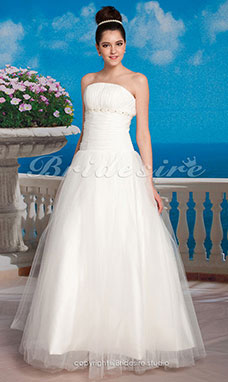Ball Gown Tulle Ankle-length Strapless Wedding Dress