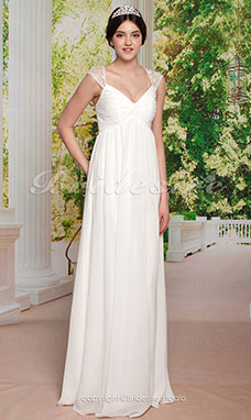 Sheath/Column ChiffonFloor-length V-neckWedding Dress