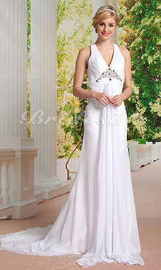 Sheath/Column Chiffon Court Train V-neck Wedding Dress