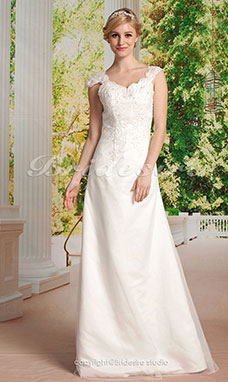A-line Princess Tulle Satin Floor-length Sweetheart Wedding Dress