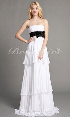 Sheath/Column Chiffon Floor-length Strapless Bridesmaid Dress
