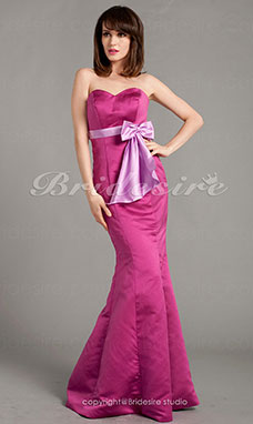 Trumpet/Mermaid Satin Floor-length Sweetheart Bridesmaid Dress With Bow(s)