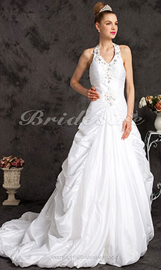 Ball Gown Taffeta Court Train Halter Wedding Dress