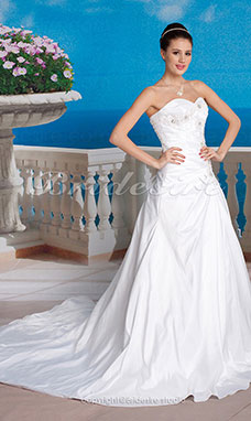 Ball Gown Taffeta Court Train Strapless Wedding Dress