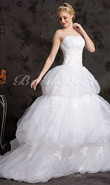 Ball Gown Tulle Satin Chapel Train Spaghetti Straps Wedding Dress