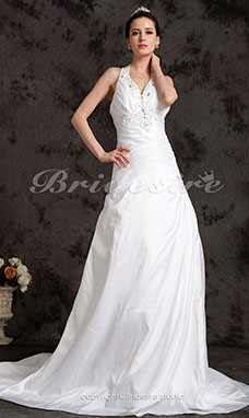 A-line Court Train Halter Side-Draped Beading Wedding Dress
