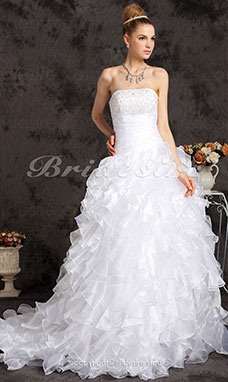 Ball Gown Beading Side-Draped Ruffles Chapel Train Strapless Wedding Dress