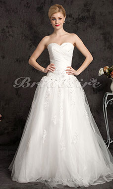 Ball Gown Sweetheart Tulle Floor-length Spaghetti Straps Wedding Dress
