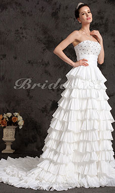 Ball Gown Beading Cascading Ruffles Sashes/Ribbons Strapless Crystal Flower(s) Chapel Train Wedding Dress