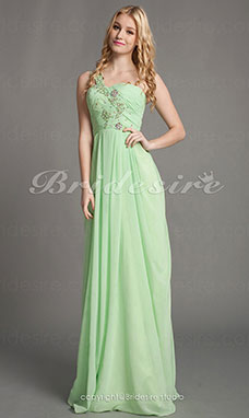 Sheath/Column Chiffon One Shoulder Floor-length Sweetheart Evening Dress