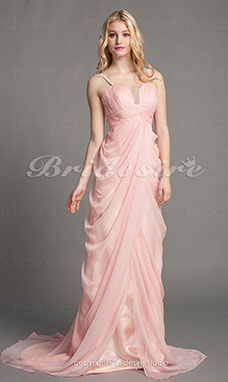 Sheath/Column Chiffon Sweep/Brush Train Spaghetti Straps Evening Dress