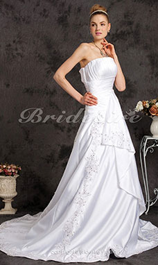 A-line Satin Court Train Strapless Wedding Dress