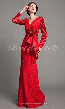 Trumpet/ Mermaid Stretch Satin And Lace Floor-length V-neck Evening Dress