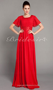 Sheath/ Column Floor-length Scoop Sequined Chiffon Evening Dress