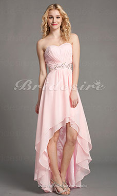 A-line Chiffon Floor-length Asymmetrical Sweetheart Bridesmaid Dress