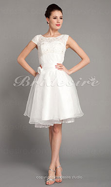 A-line Bateau Lace And Organza Wedding Dress+C6