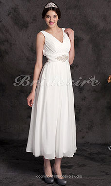 A-line Chiffon Ankle-length V-neck Wedding Dress