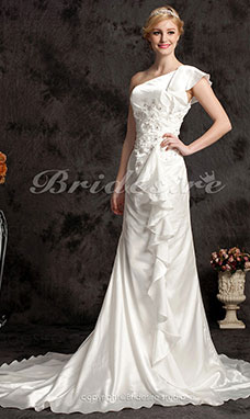 Sheath/ Column Chiffon Court Train One Shoulder Wedding Dress