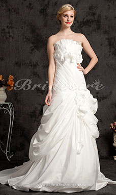 Ball Gown Taffeta Chapel Train Strapless Wedding Dress