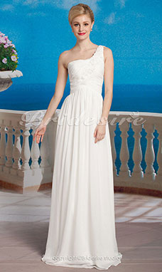 Sheath/ Column One Chiffon Floor-length Shoulder Wedding Dress