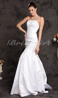 Mermaid/Trumpet Satin And Chiffon Floor-length Halter Wedding Dress