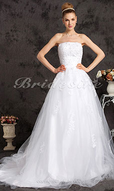 A-line Tulle Satin Chapel Train Strapless Wedding Dress