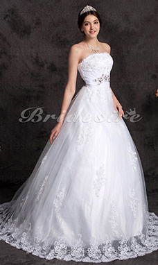 A-line Chapel Train Satin Tulle Scalloped-Edge Wedding Dress