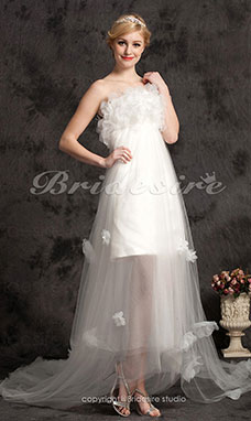 A-line Tulle Satin Asymmetrical Strapless Wedding Dress