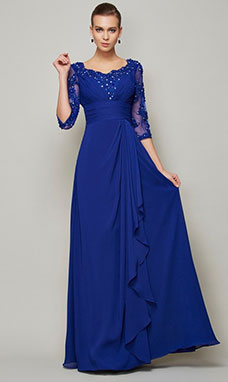 A-line Scoop 3/4 Length Sleeve Chiffon Mother of the Bride Dress