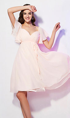 A-line Sweetheart Short Sleeve Chiffon Dress