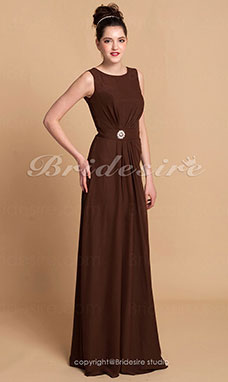 Sheath/Column Chiffon Floor-length Jewel Evening Dress
