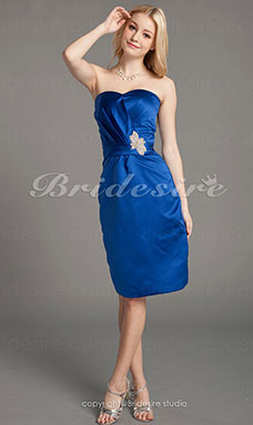 Sheath/Column Satin Knee-length Sweetheart Bridesmaid Dress