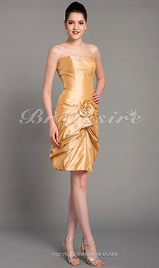 Sheath/Column Taffeta Short/Mini Strapless Bridesmaid Dress