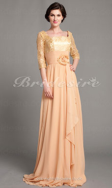 A-line Floor-length Square Chiffon And Lace Mother of the Bride Dress With A Wrap