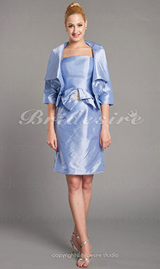 Sheath/Column 3/4 Length Sleeve Spaghetti Straps Taffeta Knee-length Mother of the Bride Dress With A Wrap