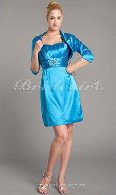 Sheath/Column 3/4 Length Sleeve Sweetheart Elastic Woven Satin Knee-length Mother of the Bride Dress With A Wrap