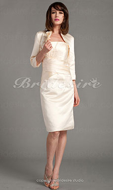 Sheath/Column 3/4 Length Sleeve Strapless Satin Knee-length Homecoming Dress With A Wrap