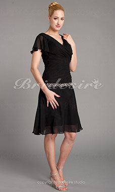 Sheath/Column Short Sleeve V-neck Polyester Knee-length Mother of the Bride Dress