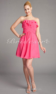 Sheath/Column Chiffon Knee-length Strapless Bridesmaid Dress
