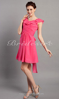 Sheath/Column Chiffon Short Sleeve Knee-length V-neck Bridesmaid Dress