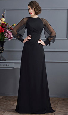 Sheath/Column Scoop Long Sleeve Chiffon Dress