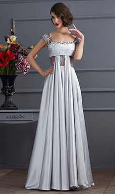 A-line Off-the-shoulder Sleeveless elastic silk-like satin Dress