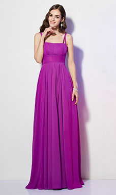 Sheath/Column Spaghetti Straps Sleeveless Chiffon Dress