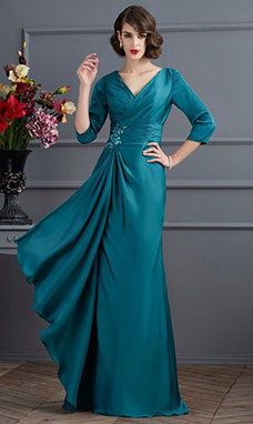 A-line V-neck 3/4 Length Sleeve Satin Dress