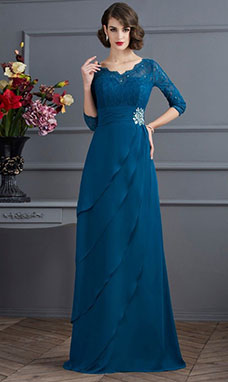 A-line V-neck 3/4 Length Sleeve Chiffon Mother of the Bride Dress
