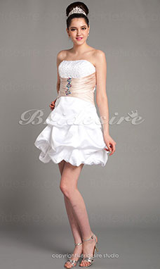 A-line Knee-length Strapless Beading Sash/Ribbon Satin Pick Up Skirt Ruching Cocktail Dress