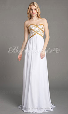 Sheath/Column Chiffon Floor-length Sweetheart Strapless Wedding Dress